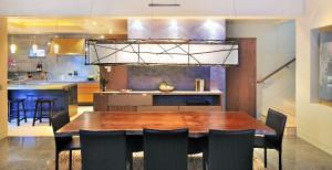 Dinning light fixture collaboration Cheng Design and David Ward stick art